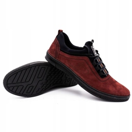 Polbut Men's leather casual shoes K24 burgundy red 6