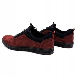 Polbut Men's leather casual shoes K24 burgundy red 7