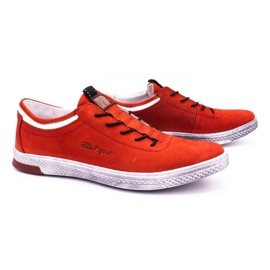 Polbut Men's leather casual shoes K23 red nubuck 2