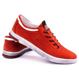 Polbut Men's leather casual shoes K23 red nubuck 4