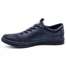 Polbut Men's leather summer shoes K22 navy blue 1