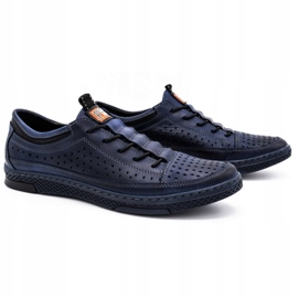 Polbut Men's leather summer shoes K22 navy blue 2