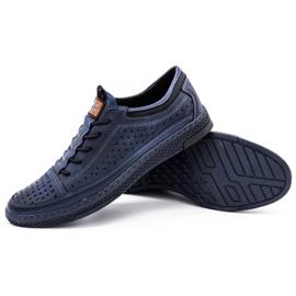 Polbut Men's leather summer shoes K22 navy blue 3