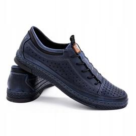 Polbut Men's leather summer shoes K22 navy blue 4