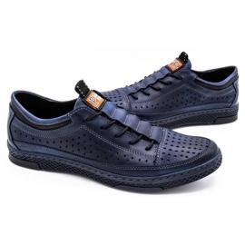 Polbut Men's leather summer shoes K22 navy blue 5