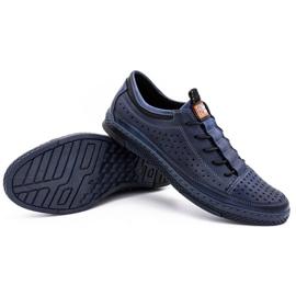 Polbut Men's leather summer shoes K22 navy blue 6