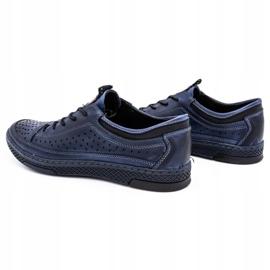 Polbut Men's leather summer shoes K22 navy blue 7