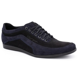 Polbut Men's casual shoes 2101P navy blue nubuck with black 3
