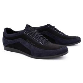 Polbut Men's casual shoes 2101P navy blue nubuck with black 6