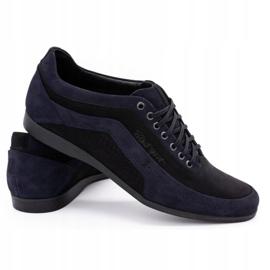 Polbut Men's casual shoes 2101P navy blue nubuck with black 8