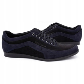 Polbut Men's casual shoes 2101P navy blue nubuck with black 9