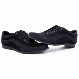 Polbut Men's casual shoes 2101P navy blue nubuck with black 10