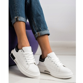 SHELOVET Sneakers With Studs white black 3