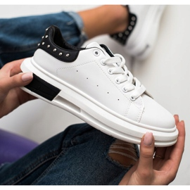 SHELOVET Sneakers With Studs white black 2
