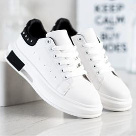 SHELOVET Sneakers With Studs white black 1