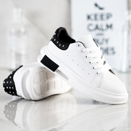 SHELOVET Sneakers With Studs white black 4