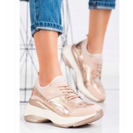 Bestelle Fashionable Sneakers On Platform pink golden 4