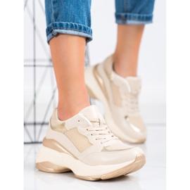 SHELOVET Stylish Golden Sneakers beige 3