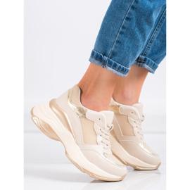 SHELOVET Stylish Golden Sneakers beige 4