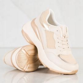 SHELOVET Stylish Golden Sneakers beige 1