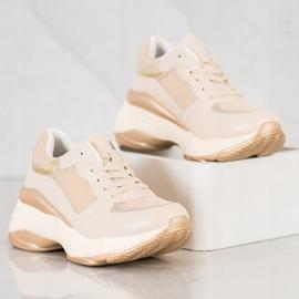SHELOVET Stylish Golden Sneakers beige 2