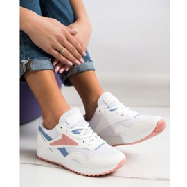 SHELOVET Sport Shoes With A Net white blue pink 3
