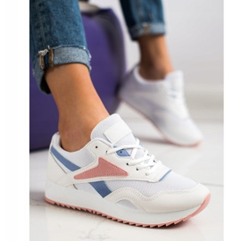 SHELOVET Sport Shoes With A Net white blue pink 1