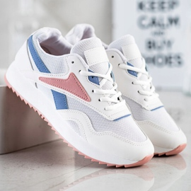 SHELOVET Sport Shoes With A Net white blue pink 4