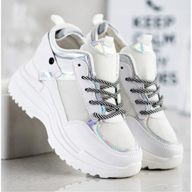 Marquiz Sneakers Wedge white silver 3