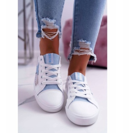 Women's Sneakers With Mesh Big Star DD274689 White-Blue 3