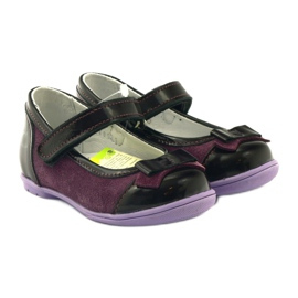 Ren But Maroon leather ballerinas with a bow multicolored violet 4