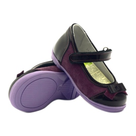 Ren But Maroon leather ballerinas with a bow multicolored violet 3