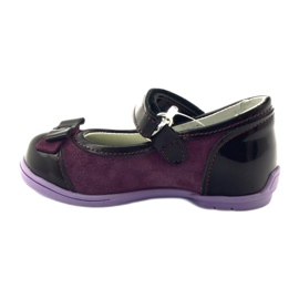 Ren But Maroon leather ballerinas with a bow multicolored violet 2