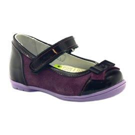 Ren But Maroon leather ballerinas with a bow multicolored violet 1