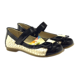 Ren But Ballerinas black and gold leather bow Ren yellow 4
