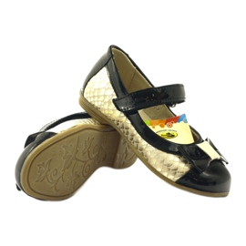 Ren But Ballerinas black and gold leather bow Ren yellow 3