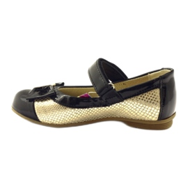 Ren But Ballerinas black and gold leather bow Ren yellow 2