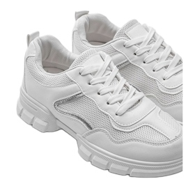 White sports sneakers 3157 silver 3