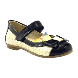 Ren But Ballerinas black and gold leather bow Ren yellow 1