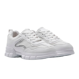 White sports sneakers 3157 silver 1
