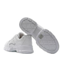 White sports sneakers 3157 silver 2