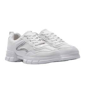 White sports sneakers 3157 silver 4