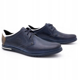 Polbut Men's shoes 2103 navy blue with white multicolored 2