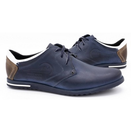 Polbut Men's shoes 2103 navy blue with white multicolored 5