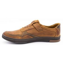 Polbut Men's casual leather shoes 2102 camel brown 1