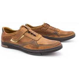 Polbut Men's casual leather shoes 2102 camel brown 2