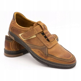 Polbut Men's casual leather shoes 2102 camel brown 4