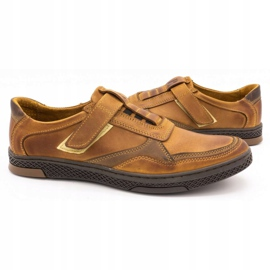 Polbut Men's casual leather shoes 2102 camel brown 5