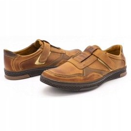 Polbut Men's casual leather shoes 2102 camel brown 6