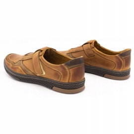 Polbut Men's casual leather shoes 2102 camel brown 7